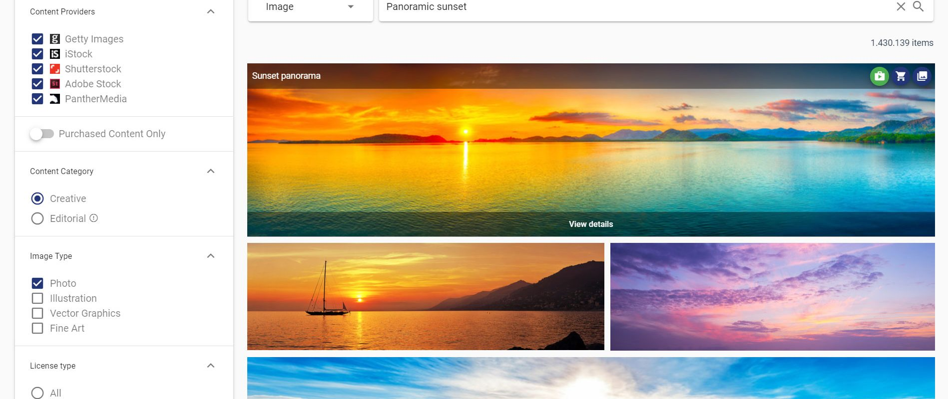 Search once, find everything - it does not matter if you work with Getty Images, iStock, Adobe Stock, Shutterstock, PantherMedia or other sources!